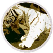 Striking Tiger Round Beach Towel