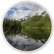 String Lake Reflection Round Beach Towel