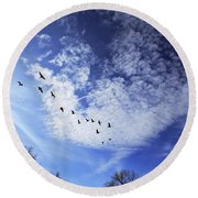 String Of Geese Round Beach Towel