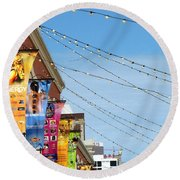 String Of Lights Round Beach Towel