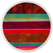 Stripe Assemblage 1 Round Beach Towel