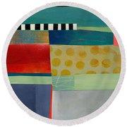 Stripe Assemblage 2 Round Beach Towel