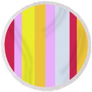 Striped Color In Pastels Round Beach Towel