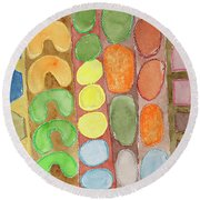 Striped Colorful Pattern With Croissants  Round Beach Towel