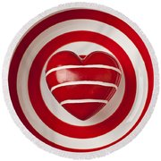 Striped Heart In Bowl Round Beach Towel by Garry Gay