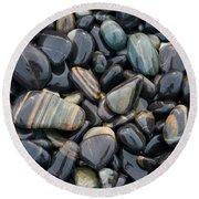 Striped Pebbles Round Beach Towel