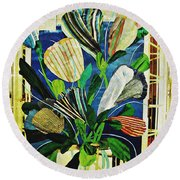 Striped Tulips At The Old Apartment Round Beach Towel