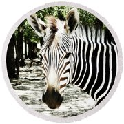 Stripes And Symmetry  Round Beach Towel