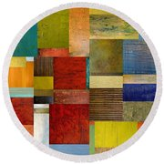 Strips And Pieces L Round Beach Towel
