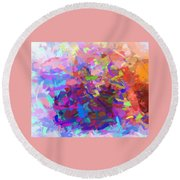Strips Of Pretty Colors Abstract Round Beach Towel