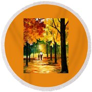 Stroll In The Forest Round Beach Towel
