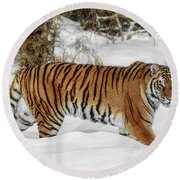 Stroll In The Snow Round Beach Towel