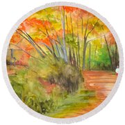 Strolling Along The Canal Round Beach Towel