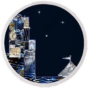 Strolling Along The Seine At 3 Am Round Beach Towel