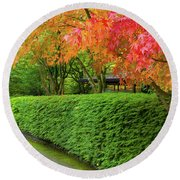 Strolling Path Lined With Japanese Maple Trees In Fall Round Beach Towel