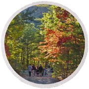 Strolling The Upper Cascades Trail Round Beach Towel