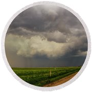Strong Storms In South Central Nebraska 003 Round Beach Towel