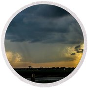 Strong Storms In South Central Nebraska 004 Round Beach Towel