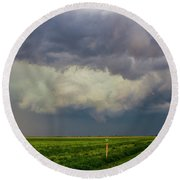 Strong Storms In South Central Nebraska 005 Round Beach Towel