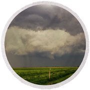 Strong Storms In South Central Nebraska 008 Round Beach Towel