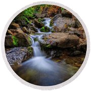 Strongs Canyon Cascades Round Beach Towel