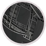 Structure - Center For Brain Health - Las Vegas - Black And White Round Beach Towel