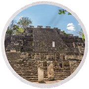 Structure Two In Calakmul Round Beach Towel