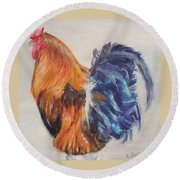 Strutting Rooster Round Beach Towel