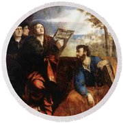Sts John And Bartholomew With Donors 1527 Round Beach Towel