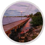 Stuart Riverwalk Sunset Round Beach Towel