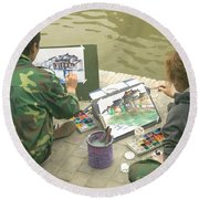 Students Painting, China Round Beach Towel