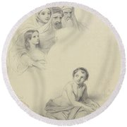 Studies Of Children And Some Adults, Cornelis Kruseman, 1814 Round Beach Towel