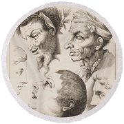 Studies Of Heads Anonimo, Blooteling Abraham Round Beach Towel