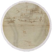 Studies Of Lago Maggiore And And The Entrance To A Palazzo Round Beach Towel