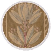 Study For A Border Design [recto] Round Beach Towel
