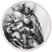 Study For A Madonna With A Cat Round Beach Towel