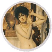 Study For Allegory Of Sculpture Round Beach Towel