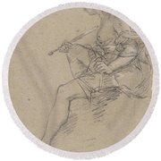 Study For An Allegory Of Painting Round Beach Towel