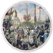 Study For Le 14 Juillet 1880 Round Beach Towel