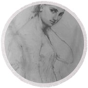 Study For Raphael And The Fornarina Round Beach Towel