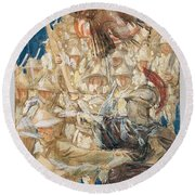 Study For The Coming Of The Americans , John Singer Sargent Round Beach Towel