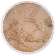Study For The Figure Of Diogenes In The School Of Athens Round Beach Towel