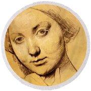 Study For Vicomtesse D Hausonville Born Louise Albertine De Broglie Round Beach Towel