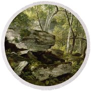 Study From Nature   Rocks And Trees Round Beach Towel
