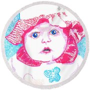 Study In Blue And Pink Round Beach Towel