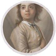 Study Of A Boy In Half Length, Jean-etienne Liotard, 1736 - 1738 Round Beach Towel
