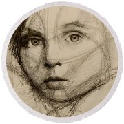 Study Of A Face Round Beach Towel