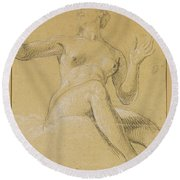 Study Of A Female Figure Seated On Clouds Round Beach Towel