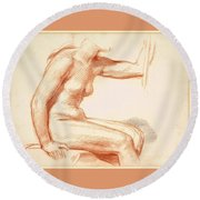 Study Of A Female Nude Seated Round Beach Towel