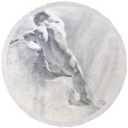 Study Of A Male Nude Round Beach Towel
